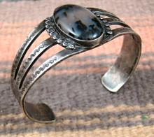 Vintage 30's-40's Navajo Petrified Wood Decorative Stamped Bracelet