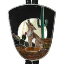 Vintage Zuni Inlaid Bolo Tie Howling Wolf by Richard and Flora Milliron