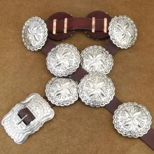 Native American Concho Belt Hammered Silver