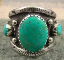 Navajo Revival 3 Stone Turquoise Decorated Silver Drops Rings By V.begay