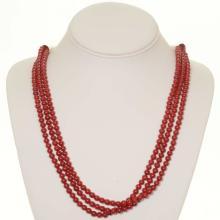 Coral Three Strand Necklace Native American Design
