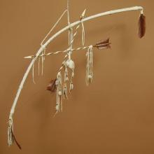 Native American Decor Beaded Buckskin Bow & Arrows