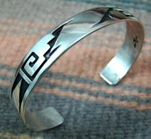 Navajo Silver Overlay Bracelet By Gibson Gene