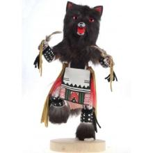 Grey Wolf Kachina Doll Navajo Hand Carved Painted