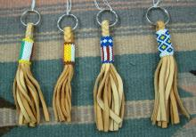Southwest Hand Crafted Braided Leather & Designed Seed Beads Keychains