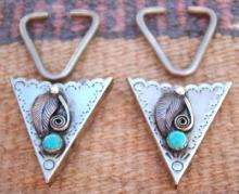 Navajo Turquoise Scroll Leaf Shirt Tips