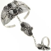 Black Onyx Silver Princess Bracelet Set Navajo Made