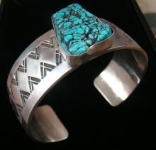Navajo Sea Foam Turquoise Stamped Bracelet