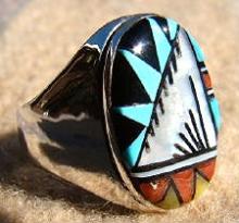 Zuni Multi Stone Geometrical Inlay Cast Ring By C.booqua