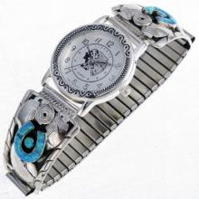 Inlaid Silver Mens Watch Lucky Opal Horseshoe Tips