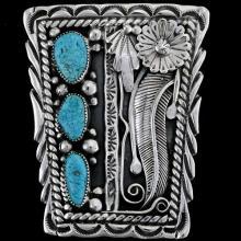Godber Turquoise Bolo Tie Native American Hallmarked