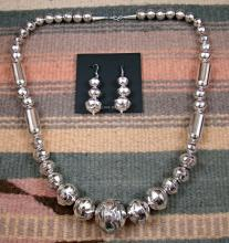Large Navajo Graduating Silver Bead Necklace & Earring Set By Calvin Largo