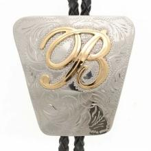 Custom Initial Bolo Tie Engraved Silver Gold Letters