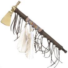 Indian Tomahawk Peace Pipe Smokable Brass Axe Replica