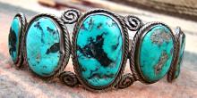 Vintage 40's Navajo 7 Stone Turquoise Decorated Bracelet