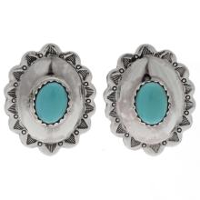 Turquoise Silver Concho Earrings Native American Post Studs