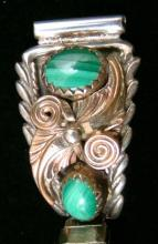 Vintage Ladies Navajo Gold Leaves Double Malachite Silver Watchband