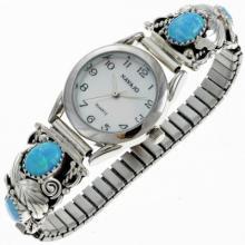 Southwest Ladies Opal Watch Navajo Silver Bracelet