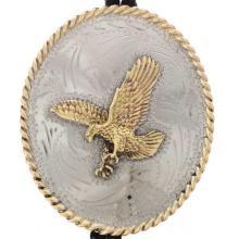 Silver Gold Eagle Bolo Tie Southwest Accessory
