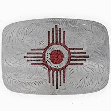 Zia Southwest Belt Buckle Inlaid Coral Engraved Silver