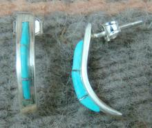 2- Zuni 3ct Turquoise Inlay Crescent Moon Earrings