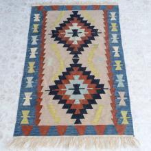 Southwest Style Wool Rug Flat Woven 72