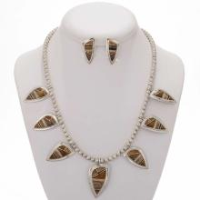Tigers Eye Opal Necklace Set Inlaid Silver Post Earrings