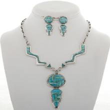 Inlaid Sterling Lightning Arrow Necklace Set Turquoise Opal Inlay