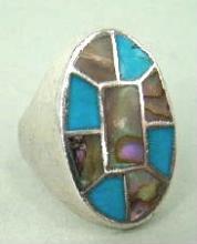 Vintage Zuni Turquoise Abalone Flush Inlay Cast Ring