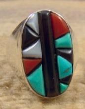 Zuni Multi Stone Geometrical Corn Row Inlay Cast Ring