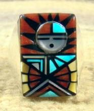 High End Zuni Multi Stone Inlay Sunface Cast Ring By A.laahty