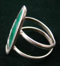Vintage Abstract Malachite Silver Drops Ring