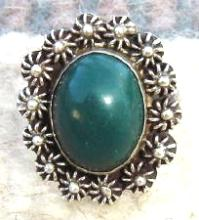 Vintage Mexican Jade Sun-star Buttons Ring