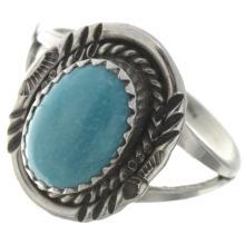 Kingman Turquoise Ladies Ring Navajo Silver Design