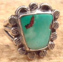 Vintage 50's-70's Navajo Cerrillos Turquoise Decorated Stamped Bead Ring