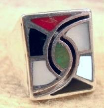 Heavy Vintage Zuni Multi Stone Inlay Hummingbird/friendship Cast Ring
