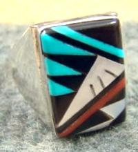Zuni Multi Stone Geometrical Inlay Cast Ring