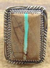 Xlarge Navajo Rectangular Turquoise Boulder Agate Decorated Wide Band Ring By G.boyd