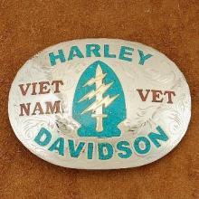 Custom Military Inlaid Belt Buckle Vietnam Veteran