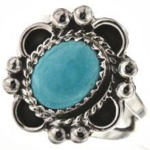 Kingman Turquoise Navajo Ladies Ring Silver Design