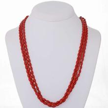 Native American Coral Necklace Beaded Three Strand