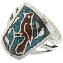 Inlaid Coral Turquoise Ladies Silver Ring Navajo Cardinal Design