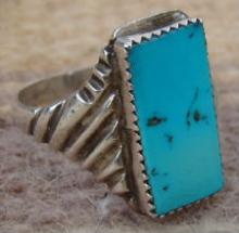 Vintage Navajo Turquoise Cast Ring