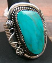 Xlarge Navajo Royston Turquoise Decorated Inner Stamped Wide Band Ring