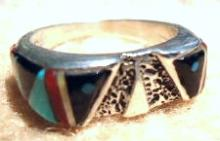 Navajo Multi Stone Inlay Owl Ring By R. Quezada