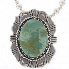 Green Turquoise Sterling Pendant With Bead Necklace