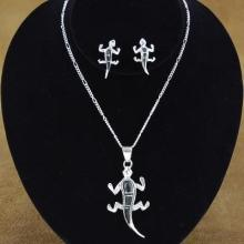 Black Onyx and Sterling Silver Gecko Pendant and Earrings Set