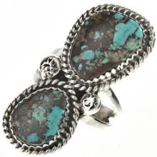 Navajo Two Stone Turquoise Ladies Ring Pointer Style Sterling