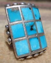 Heavy Vintage Zuni 9 Stone Turquoise Decorated Ring