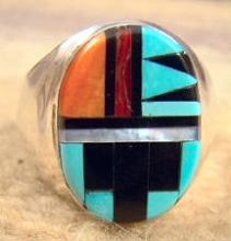 Zuni Oval Faced Multi Stone Geometrical Inlay Cast Ring By C.woobthee